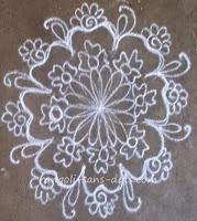 Kolam drawn at entrance