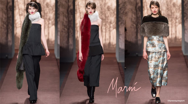 Marni runway collage fur scarves and prints.