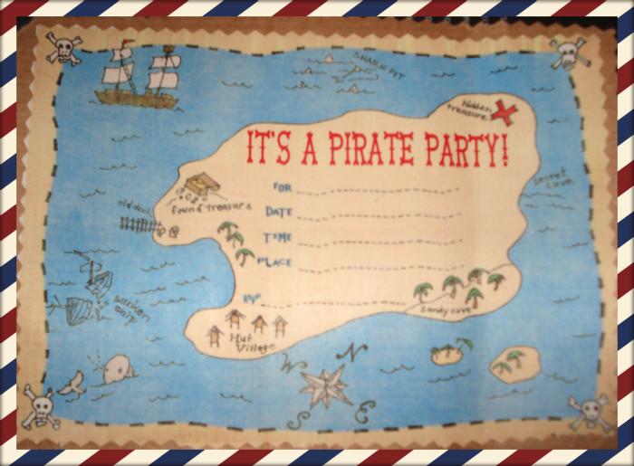 Πρόσκληση γενεθλίων Πειρατικός Χάρτης