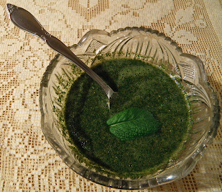 Bowl of Mint Sauce with Mint Leaf