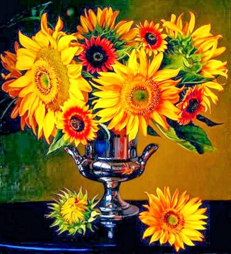 Cuadros modernos pinturas y dibujos girasoles pintados for Sala girasol