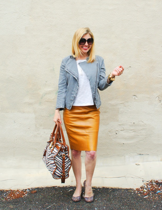 camel leather skirt and gray denim jacket