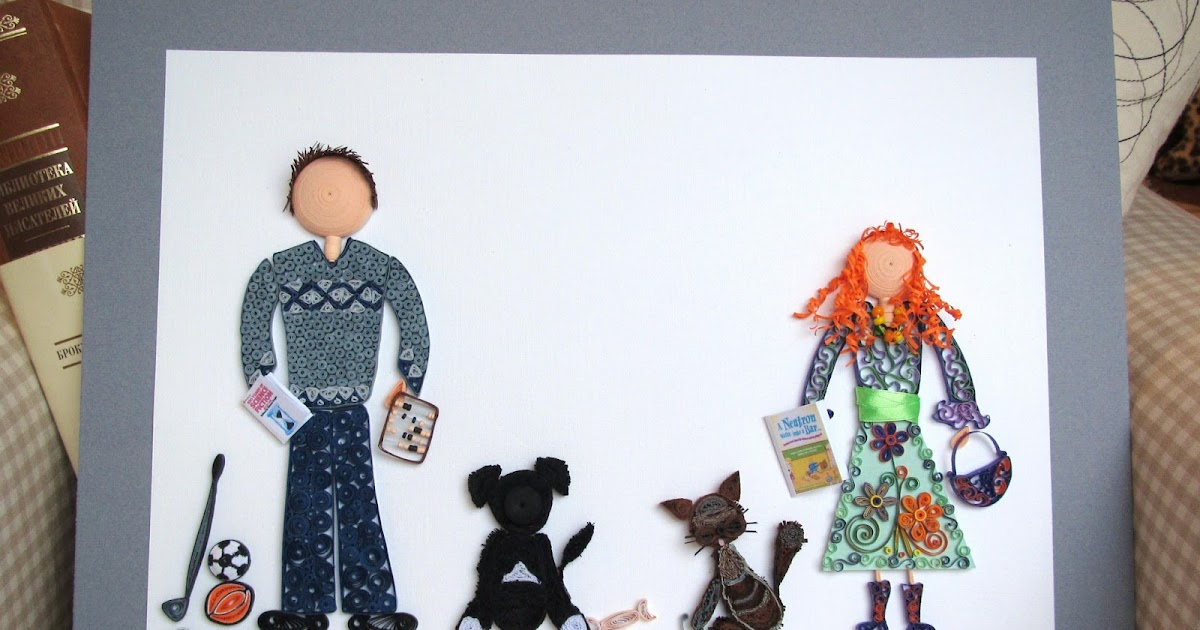 Quilled Family with pets