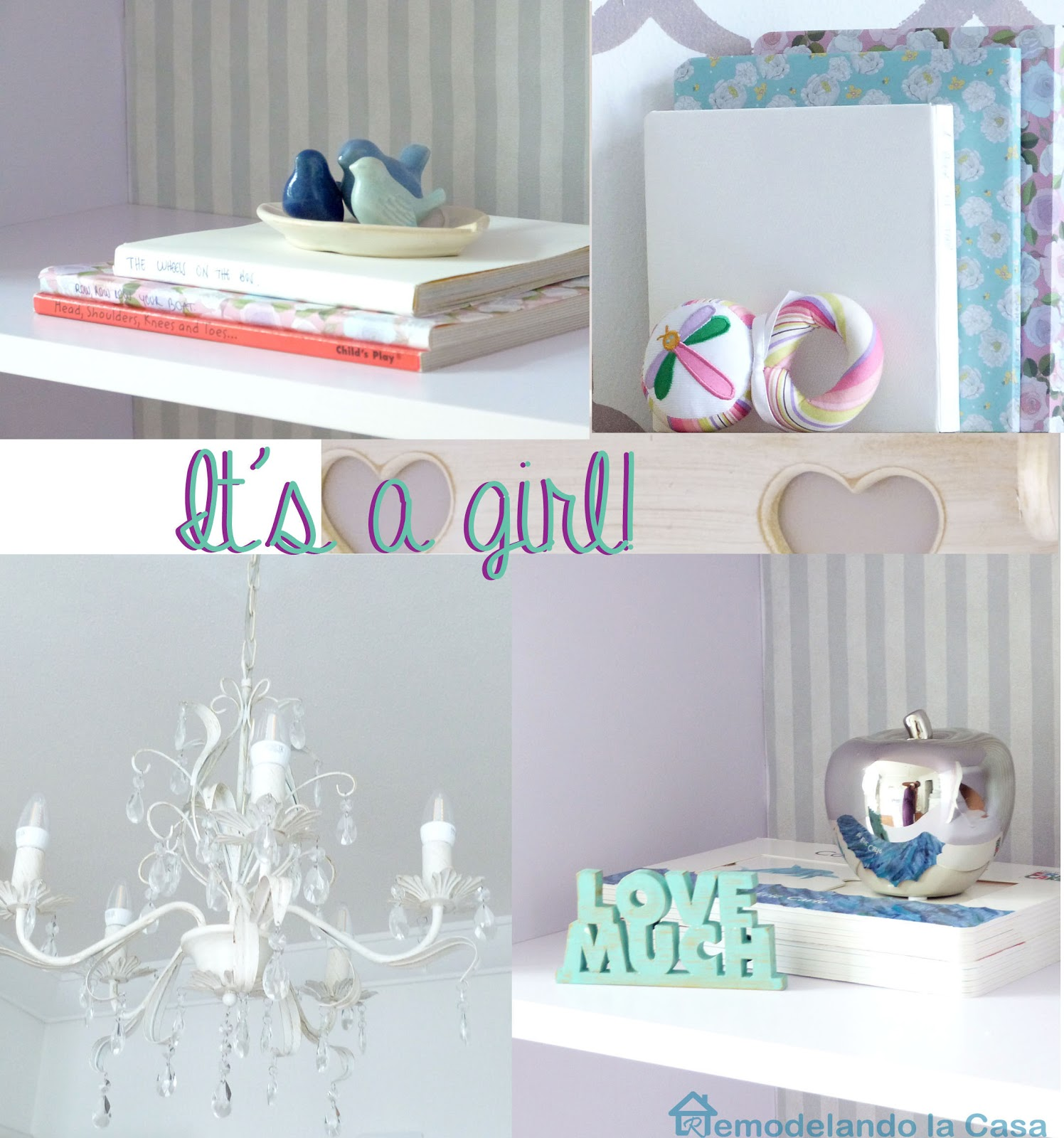 Chandelier and purple decorating accents in baby girl nursery