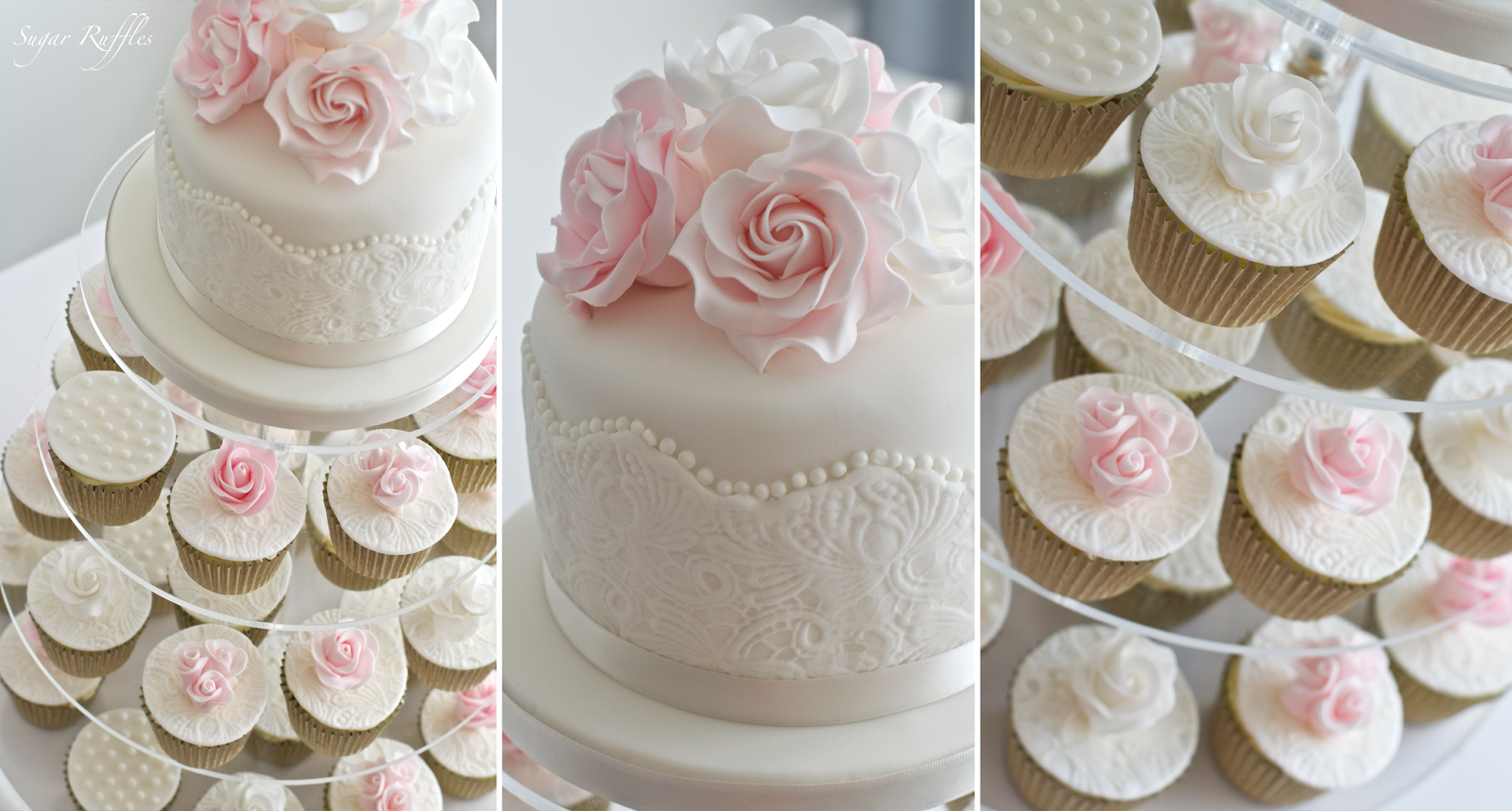 pink roses amp lace cupcake tower