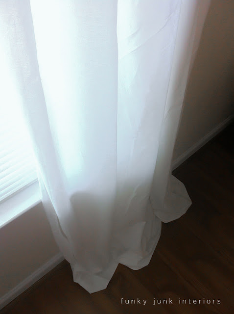 white sheet curtains with washline twine tabs via Funky Junk Interiors
