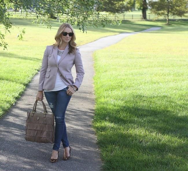 jcrew lavender blazer, AG jeans, JCrew leopard heels, Tory Burch fringe tote, Elizabeth & James sunglasses