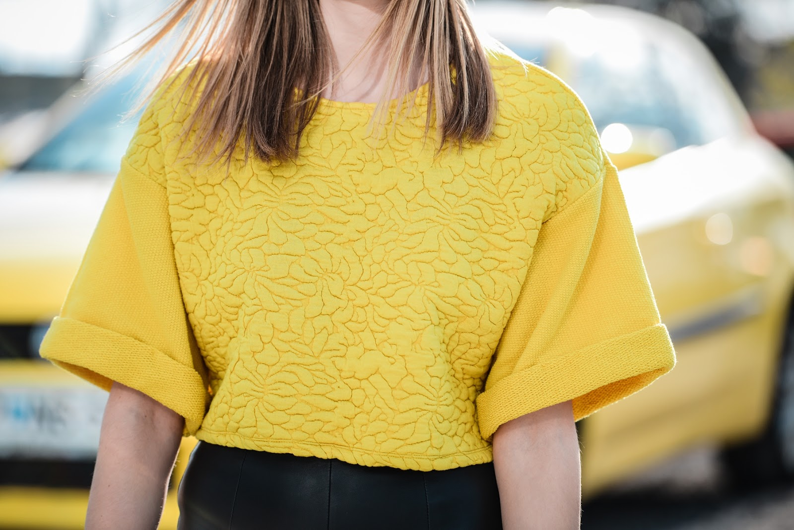hm yellow sweater crop top sleeves 2014, style blogger, fashion blogger