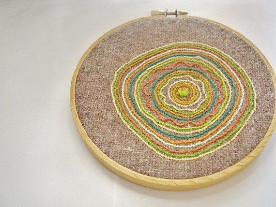 needlwork art, abstract embroidery, hoop art, frame made of embroidery hook