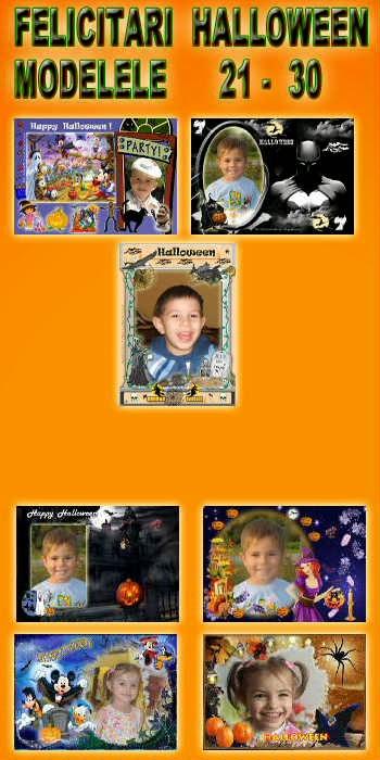 Felicitari  Halloween - Modelele 21 - 30
