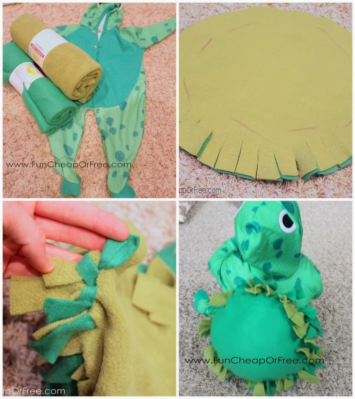 Diy finding nemo costumes plus the 6 tricks to getting halloween cut strips and tied them together stuffed with the stuffing from a 099 thrift store pillow i loosely hand sewed the shell onto the frog costume so solutioingenieria Gallery