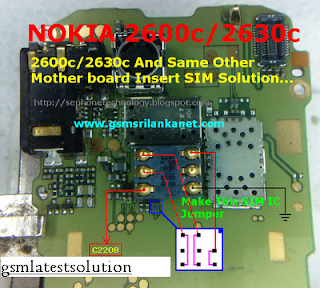 Nokia 2600c+2630c Insert Sim Card Solution Repair