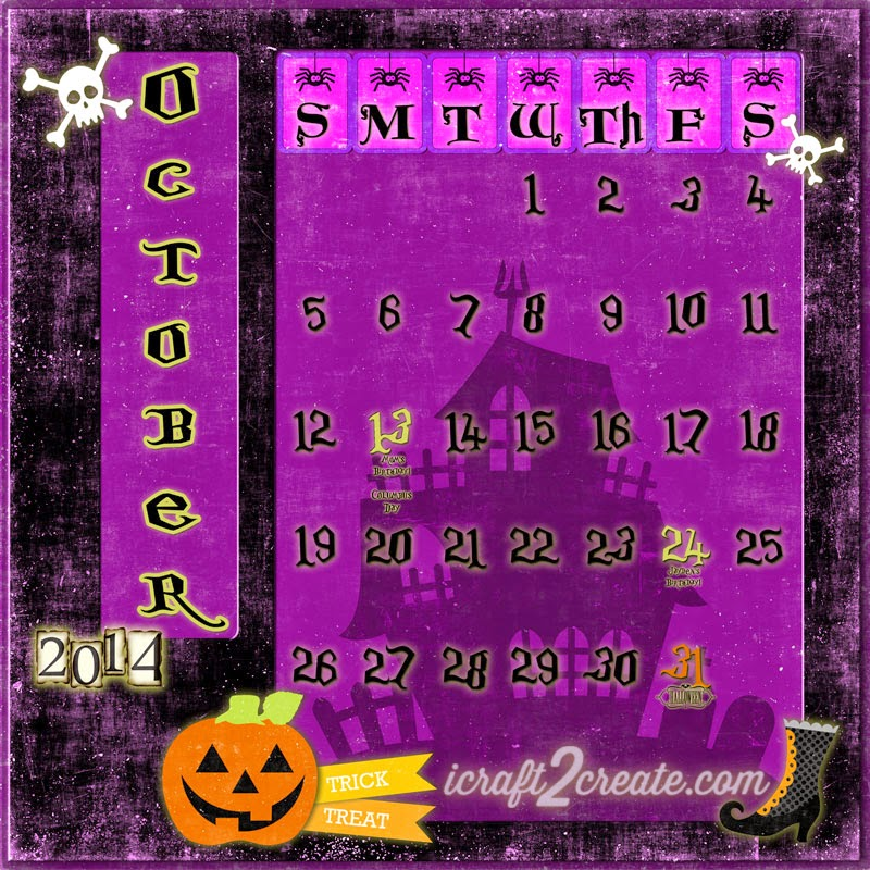 Digital, Photoshop, Calendar Day, Lori Whitlock, Lettering Delights, Halloween