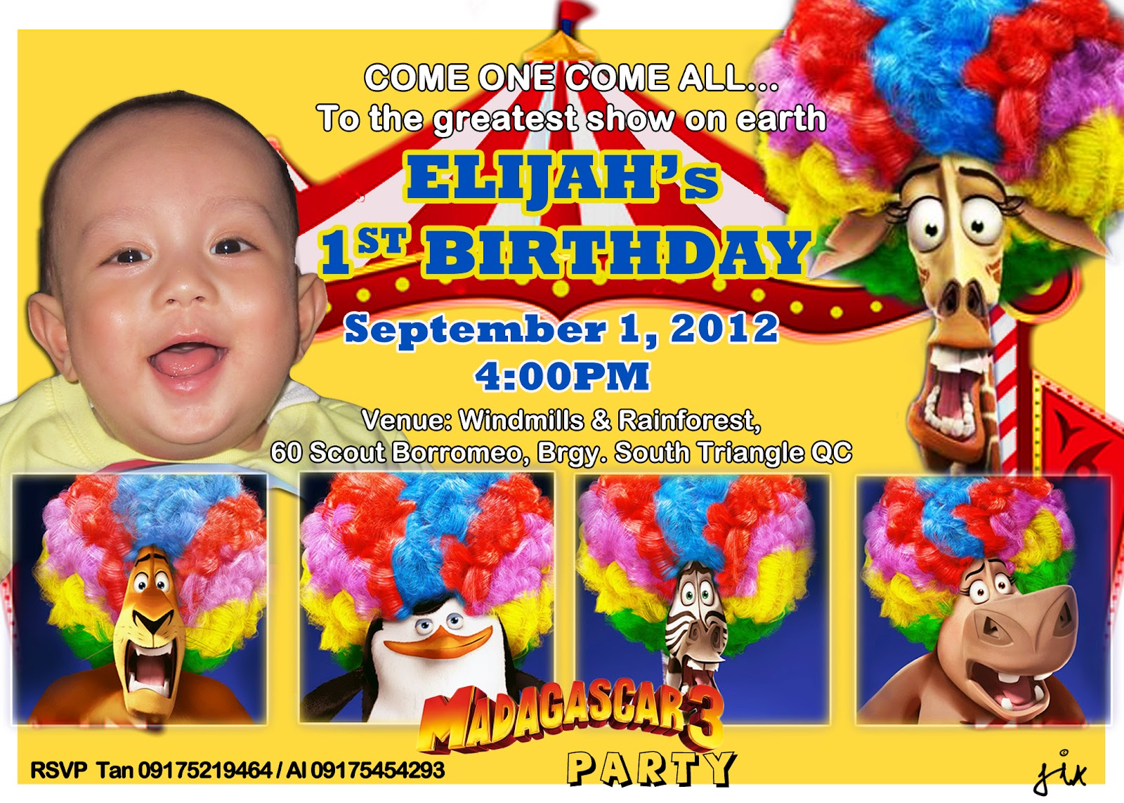 Elijah Dimapilis 1st Birthday Invite