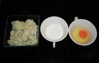 Coliflor, harina y huevo