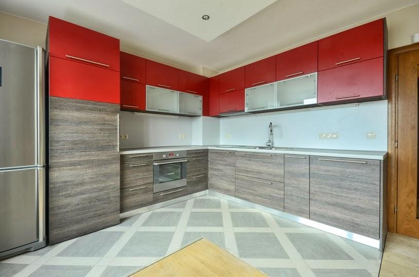 Кухня ПДЧ 2.50x2.80 червен мат и венге 3