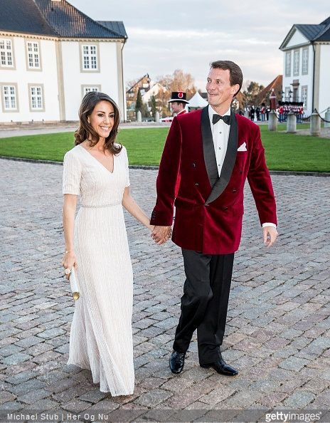 Prince Joachim of Denmark and Princess Marie of Denmark arrive at Fredensborg Palace during the festivities for the 75th birthday of the Danish Queen