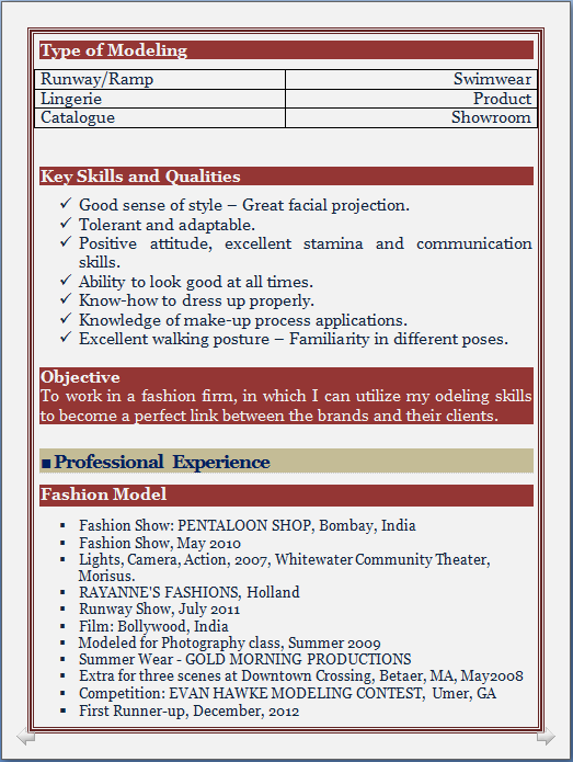 model resume format