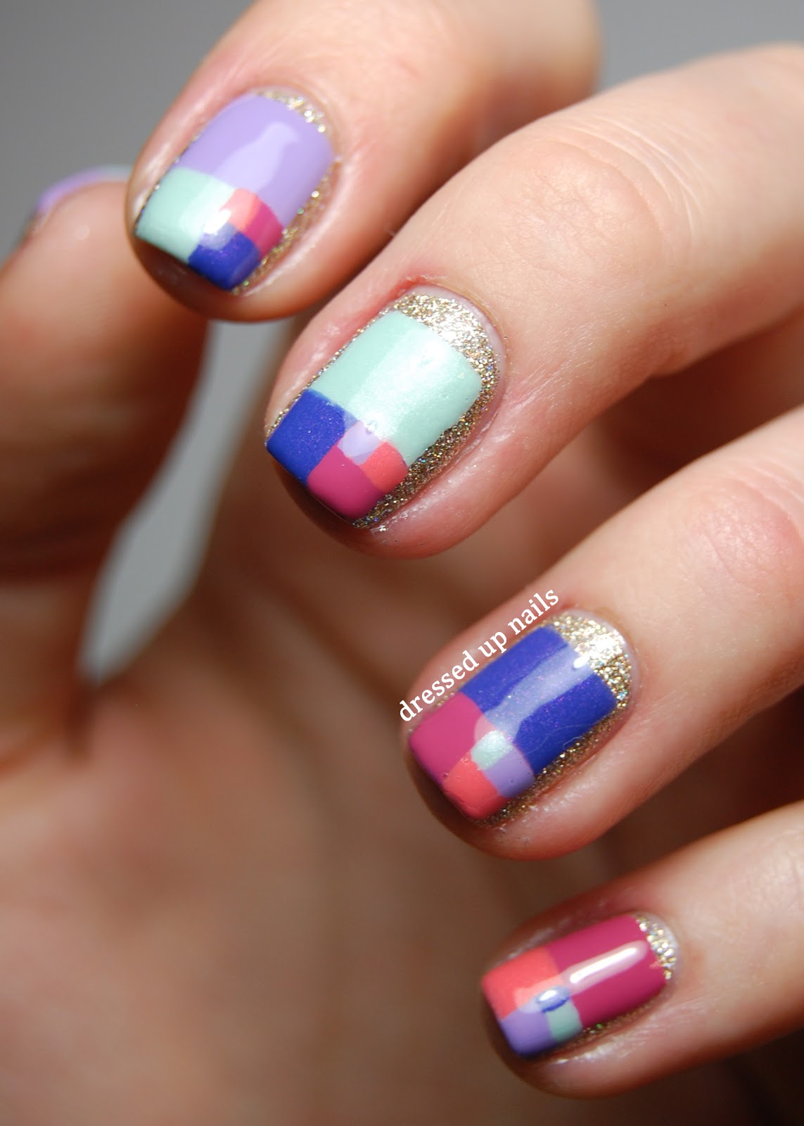 Nail art color violet - Dressed Up Nails Golden Ratio Color Block Pastel Nail Art