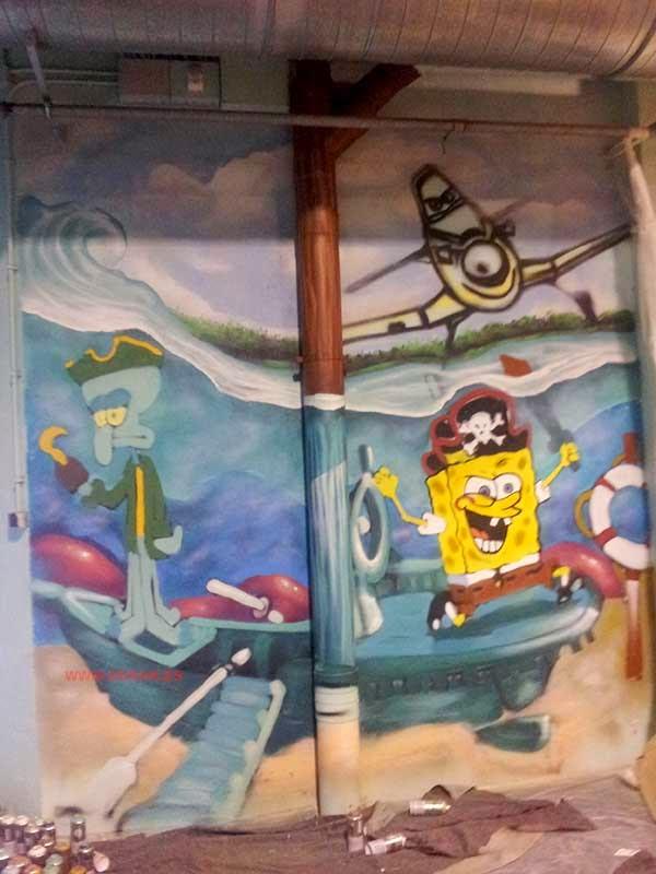 Graffiti infantil Barco pirata Bob Esponja