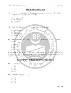 Sample Paper for OG-I State Bank Jobs in Pakistan
