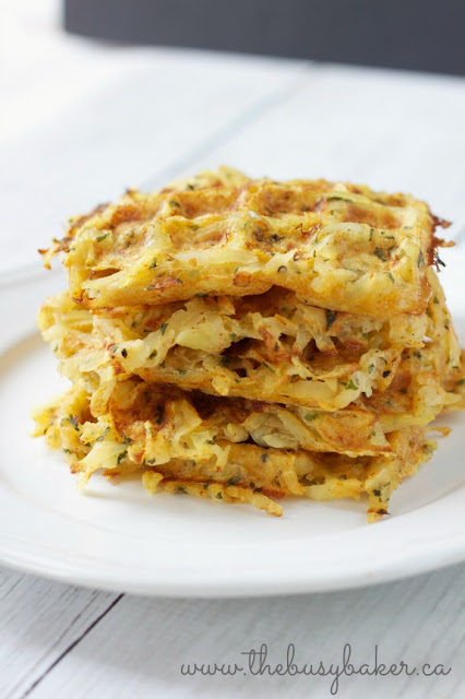 white plate with a stack of homemade hash brown waffles