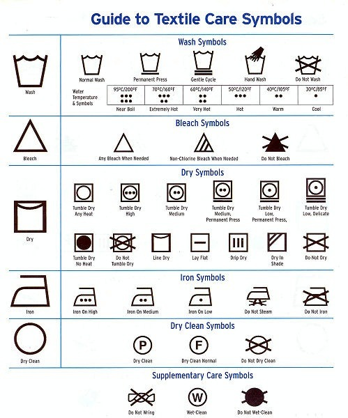 The following wash care symbols explain whether it is safe to use a tumble dryer after washing your garment, and if so, which setting is appropriate. If you prefer to dry your clothes naturally, the following clothing care symbols explain the best method to use without damaging your clothes.