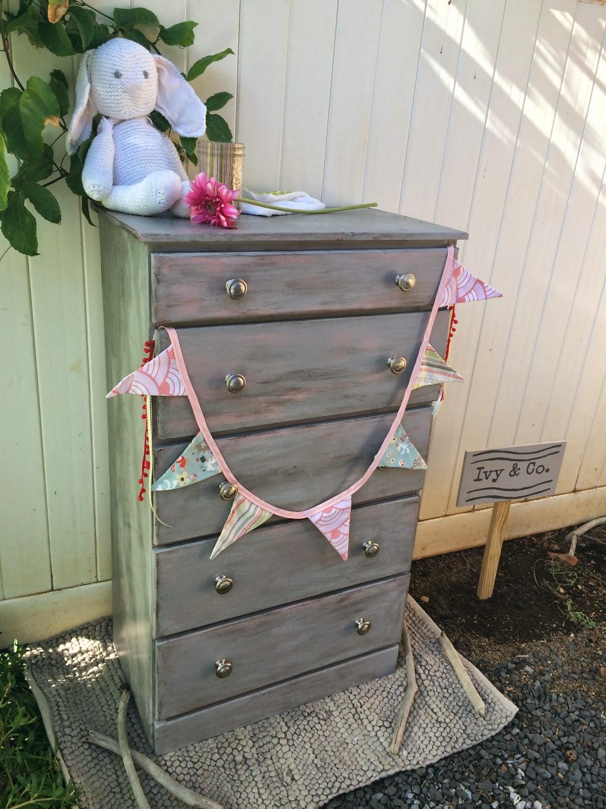 grey and pink girls wood dresser elephant ear brushed nickel knobs