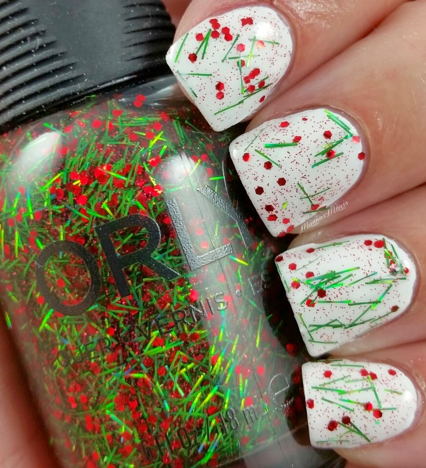 orly tinsel, a green bar and red glitter nail polish