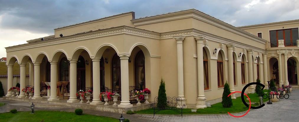 coloane grecesti, coloane polistiren stil doric, terasa resturant, intrare resturant, pret modele coloane