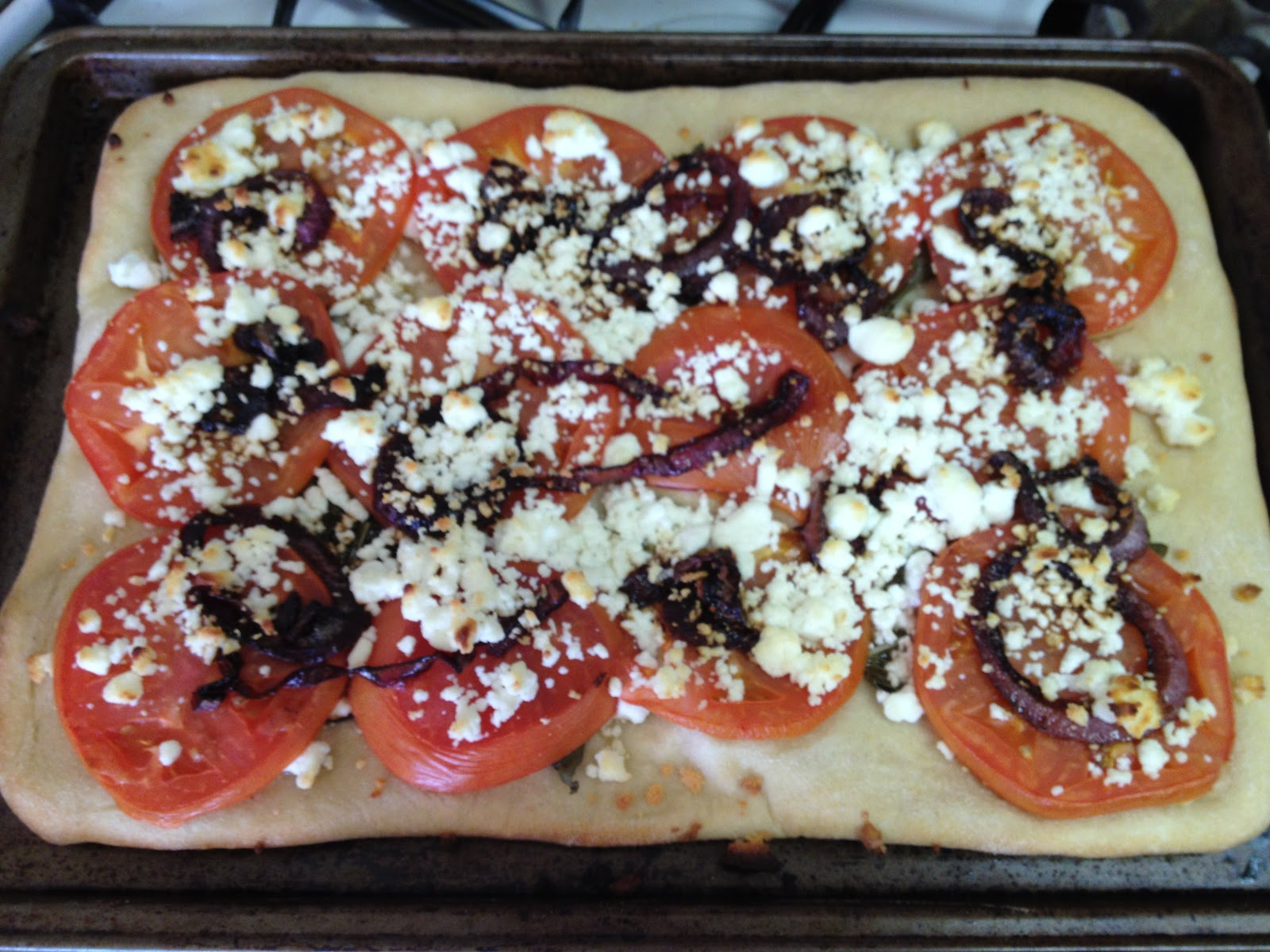 tomato basil goat cheese and balsamic onion pizza | Forever Your ...