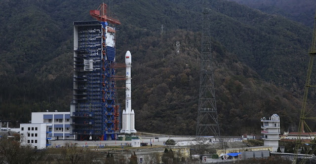 Chinese Long March 3B rocket with Belintersat-1 satellite stands tall at the launch pad ahead of Jan. 15 launch. Photo Credit: Belintersat