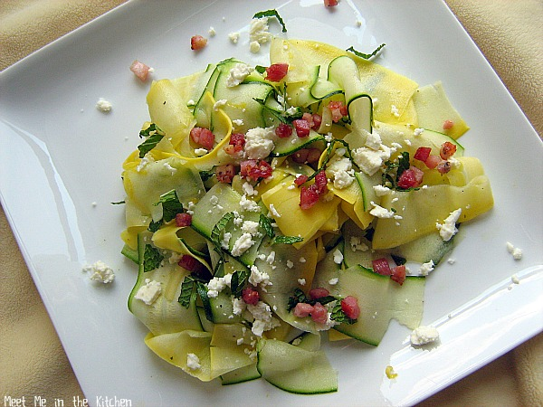 Meet Me in the Kitchen: Shaved Summer Squash Salad with Crisp Pancetta