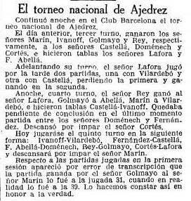 Recorte de La Vanguardia sobre el Torneo Nacional de Ajedrez Barcelona 1926, 28/9/1926