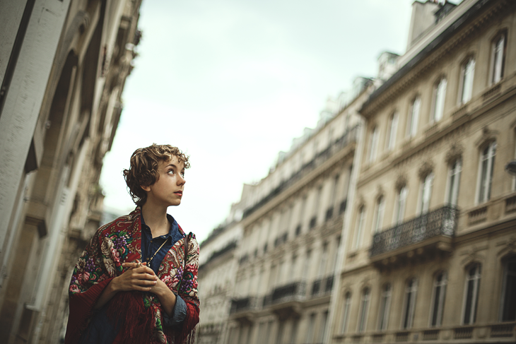 photography, das sheep, retro outfit, russian scarf, parisian building in the background
