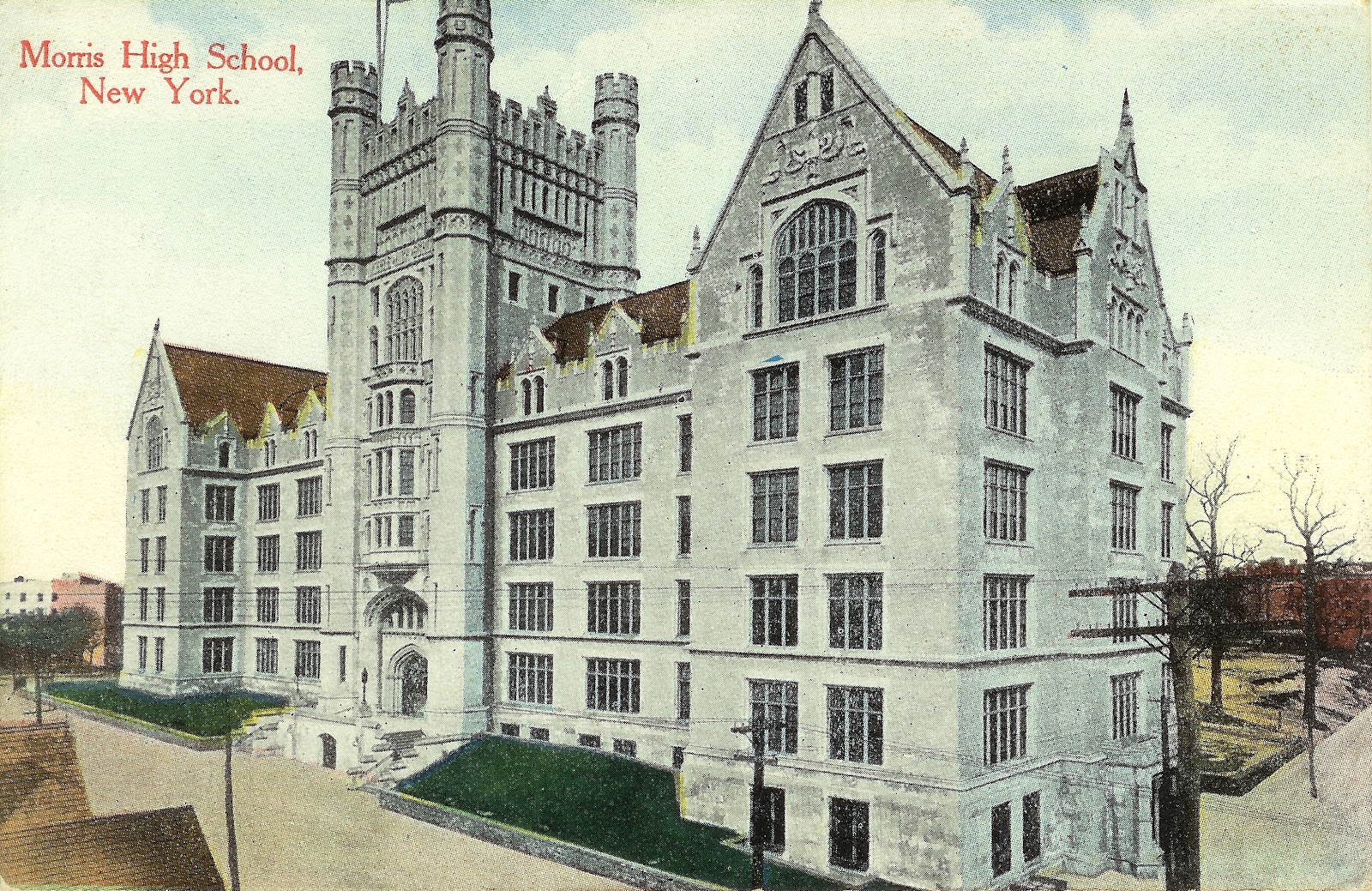 Old Postcard Wednesday  Morris High School, (Bronx) New York