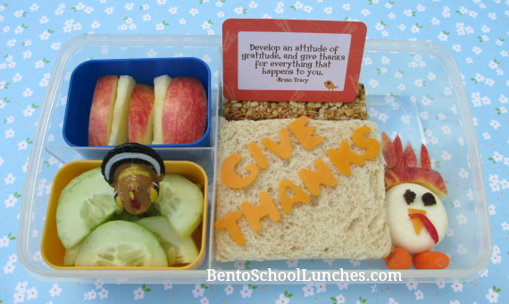 Thanksgiving, Give Thanks bento school lunch