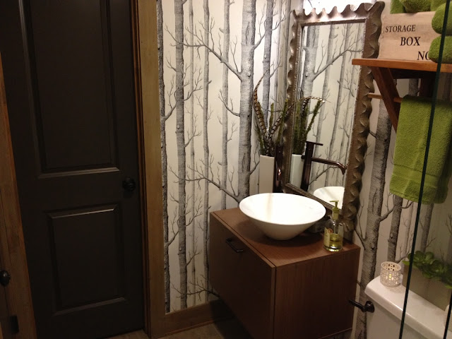 House Envy rustic modern bathroom and tree wallpaper