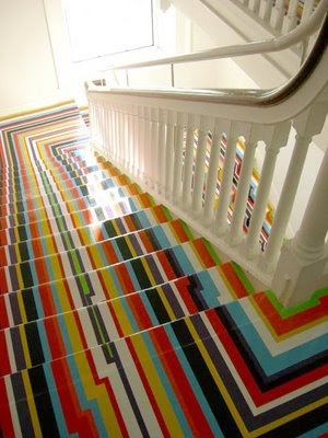 Colorful Painted Stripe Stairs