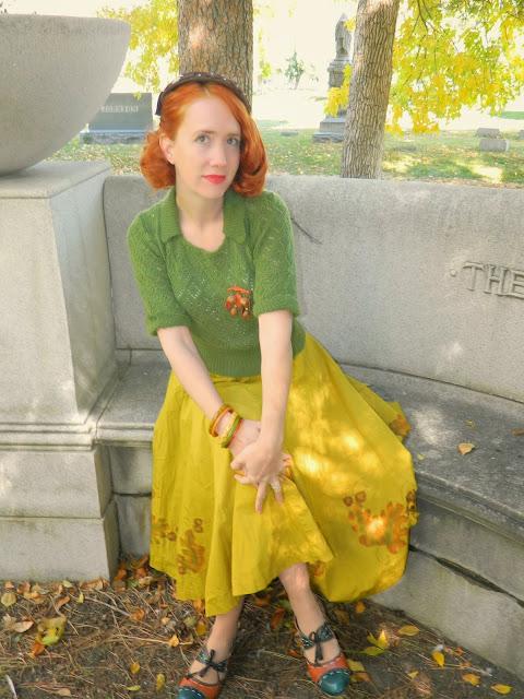 acorn leaf circle skirt 40's hat 50's sweater vintage Just Peachy, Darling
