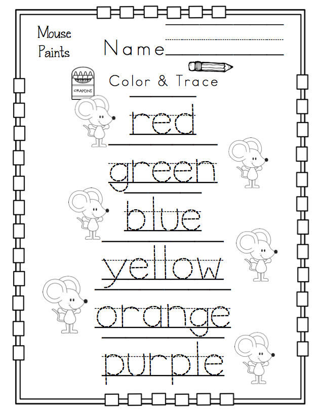 Free Kindergarten Worksheets Printable Packets : Preschool packet quot mouse paint s printables