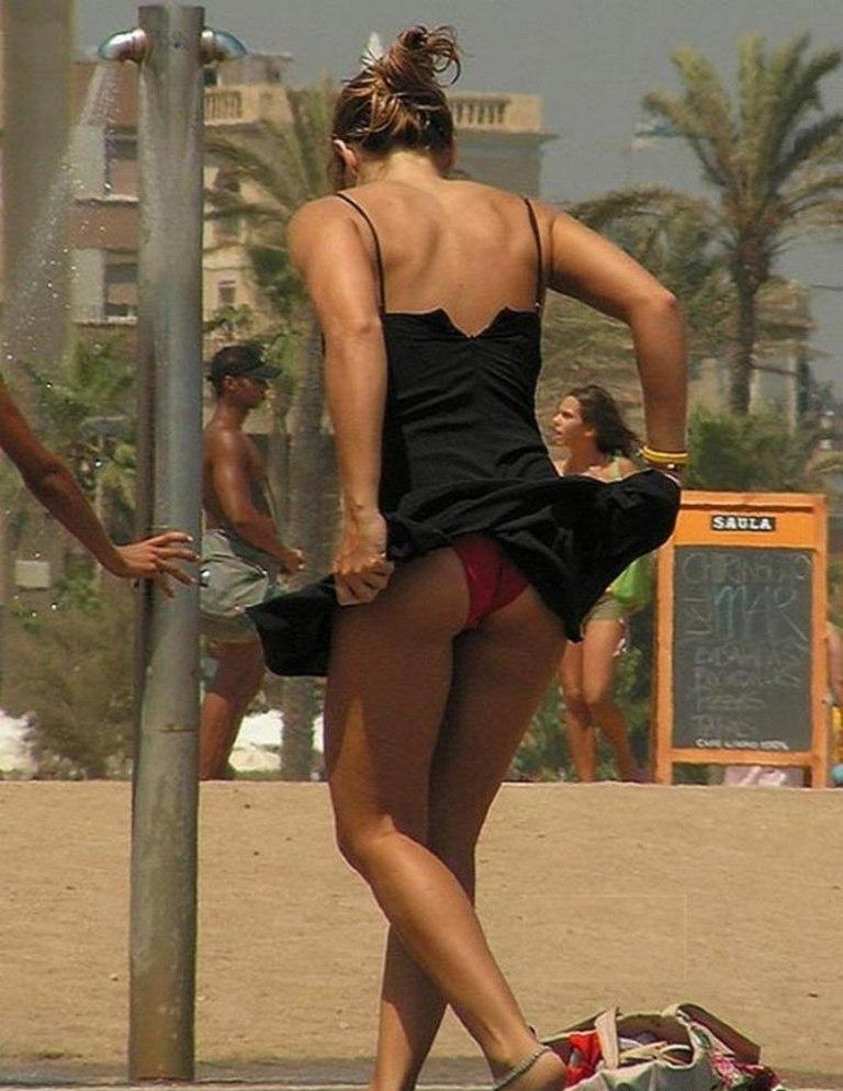 Windy Upskirt at the Beach