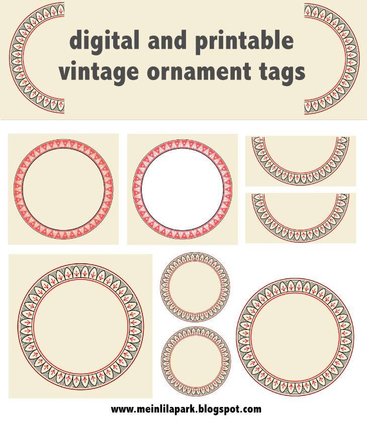 free printable vintage ornament circle tags – audruckbare Vintage ...