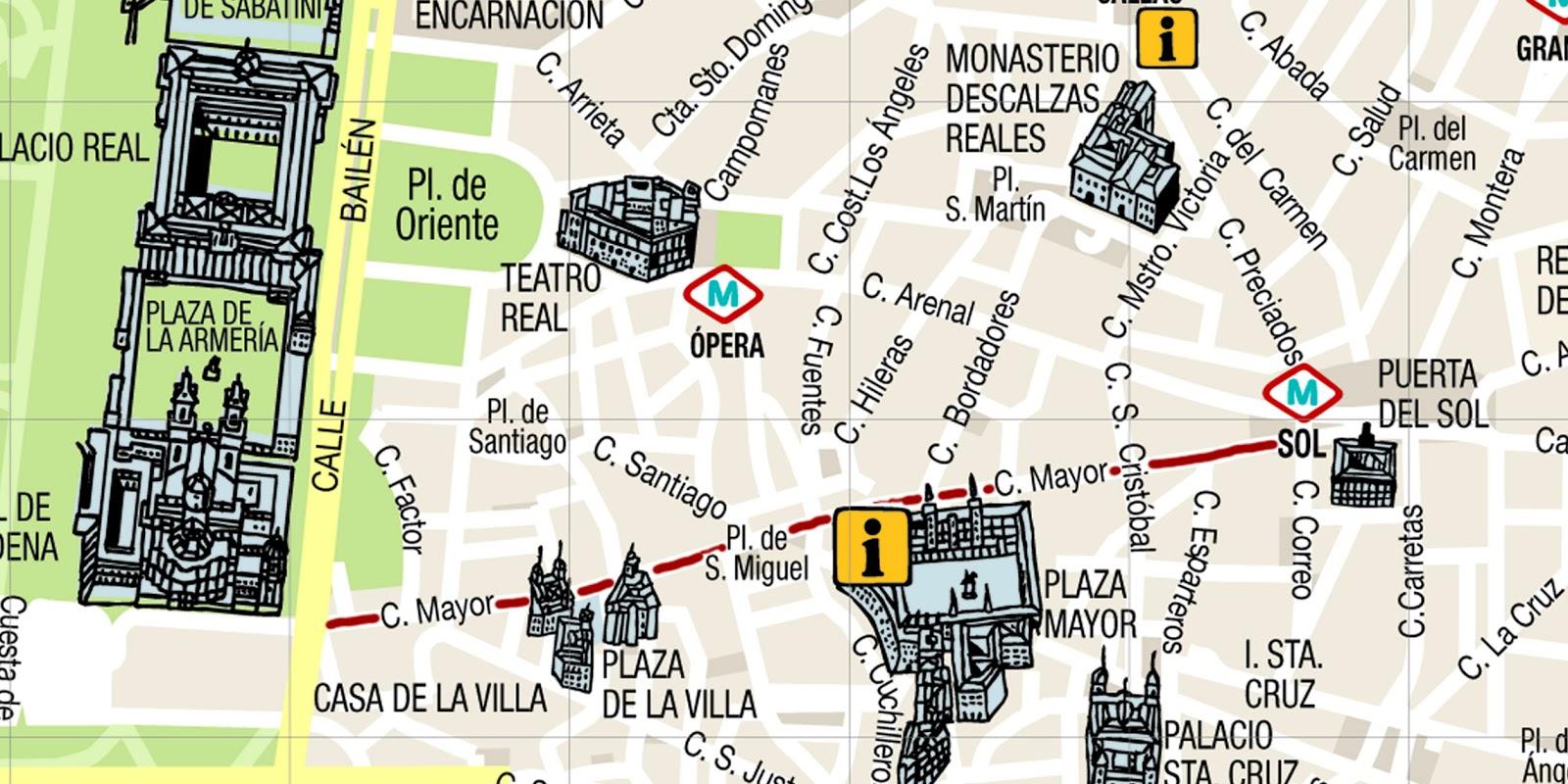 Descubriendo mayrit guia de turismo en madrid calle mayor for Puerta del sol madrid mapa