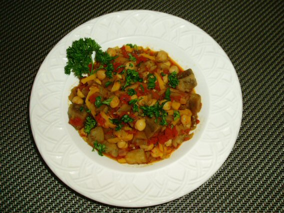 Meatless Mediterranean: Eggplant, Tomato, and Chickpea Stew