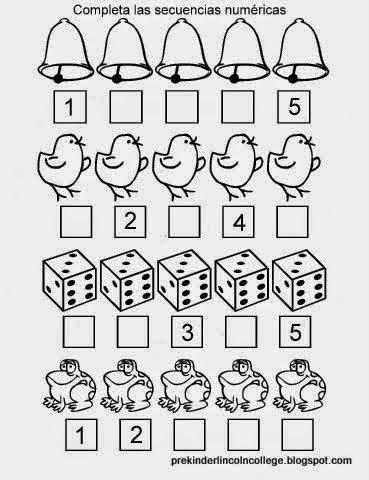 Mis recursos didácticos: Fichas para completar secuencias numéricas