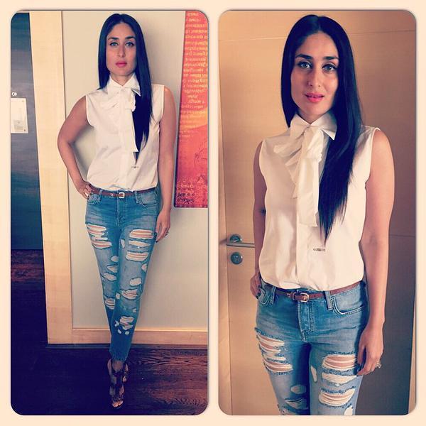 kareena wearing white shirt and jeans