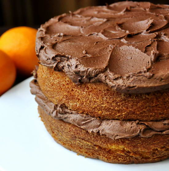 Orange Velvet Cake with Chocolate Buttercream Frosting