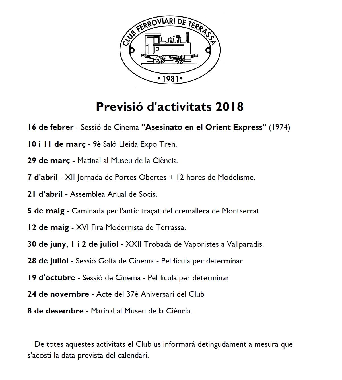 Correcció d'errors de la Previsió d'activitats - 25-FEB-2018