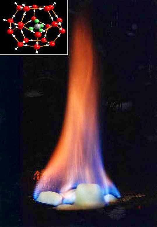 Arde o metano libertado e pinga água. Fonte: United States Geological Survey